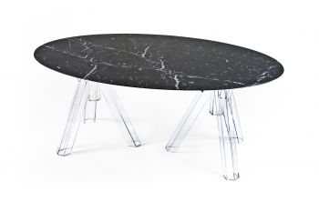 MARBLE BLACK MARQUINA OVAL TABLE 200x115 OMETTO - TRANSPARENT BASE