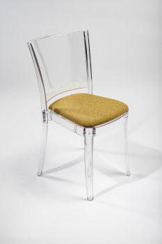 Krzesło Lucienne z przeźroczystego z poduszką - TKANINĄ TREVIRA CANVAS