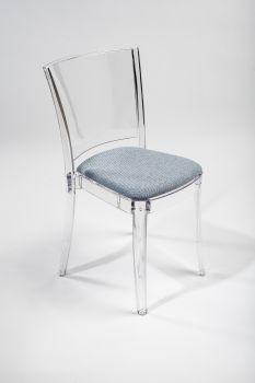 Chaise transparent avec coussin Lucienne - TISSU TREVIRA CANVAS