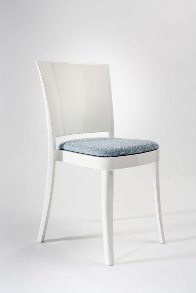 Sedia policarbonato bianco con cuscino Lucienne - TESSUTO ...