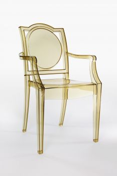 TRANSPARENT GHOST CHAIR POLYCARBONATE WITH ARMRESTS LA16 - AMBER