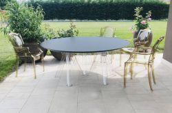 Runder transparenter Außentisch im Polycarbonat-Design - OMETTO - Durchmesser 180 Schwarze Platte