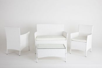 "Drawing room set in rattan model ""Habitat"" - White"