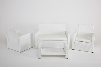 "Ensemble salon en Rattan mod. ""Habitat More"" - Blanc"