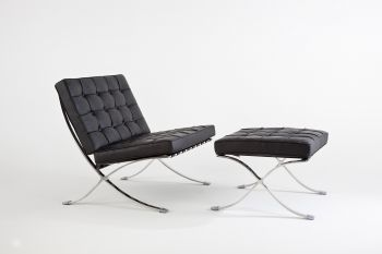 Elegance Chair Black leather with Stool