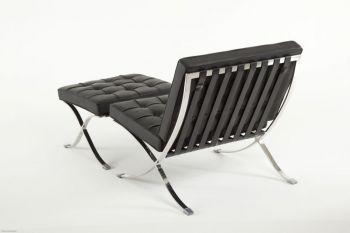 Elegance Sessel aus Leder mit Hocker