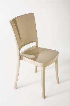 Krzesło z poliwęglanu na bardzo wysoki połysk Lucienne Cappuccino