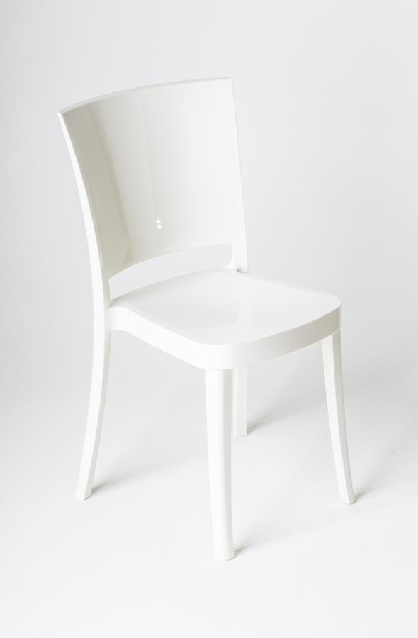 Poważnie Krzesło z poliwęglanu na bardzo wysoki połysk Lucienne czysto biały UJ08