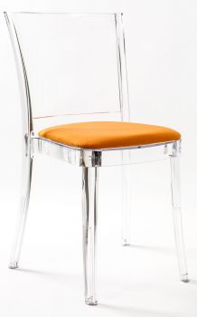 Transparent chair in polycarbonate with pillow LUCIENNE - ORANGE