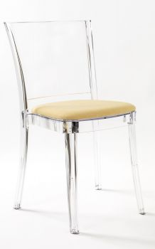 "Transparent chair in polycarbonate with pillow LUCIENNE - YELLOW CHAMPAGNE ""BICOLOR"""