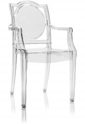 TRANSPARENT GHOST CHAIR POLYCARBONATE WITH ARMRESTS LA16 - NEUTRAL 2nd CHOICE