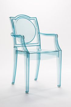 CHAISE GHOST TRANSPARENTE POLYCARBONATE AVEC ACCOUDOIRS LA16 - BLUE ICE