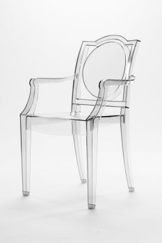 TRANSPARENT GHOST CHAIR POLYCARBONATE WITH ARMRESTS LA16 - LIGHT FUMÈ 2nd CHOICE