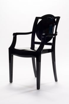 CHAIR GHOST POLYCARBONATE WITH ARMRESTS LA16 - BLACK