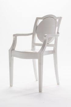 CHAIR GHOST POLYCARBONATE WITH ARMRESTS LA16 - WHITE 2nd CHOICE
