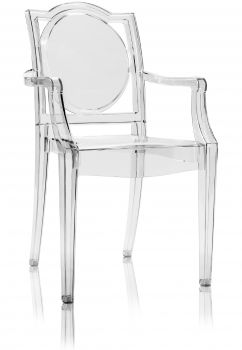 TRANSPARENT GHOST CHAIR POLYCARBONATE WITH ARMRESTS LA16  - NEUTRAL
