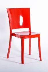 Krzesło z poliwęglanu na bardzo wysoki połysk Lucienne czerwony płomień
