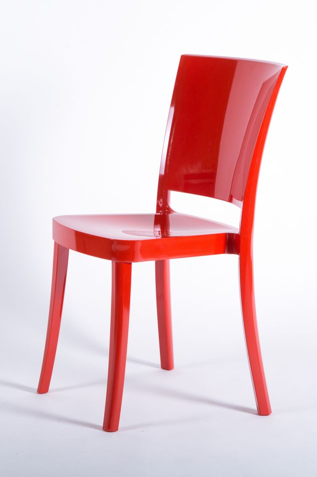 Charming Polycarbonate Chair LUCIENNE   Pallet 18 Pieces   FLAME RED