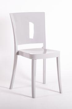 Krzesło z poliwęglanu na bardzo wysoki połysk Lucienne  - srebrnoszary