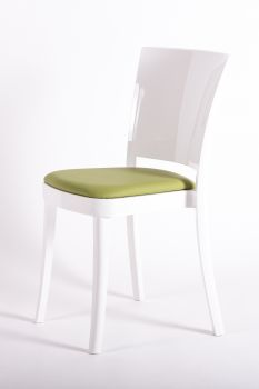 Chair polycarbonate white with pillow Lucienne - FAUX LEATHER NABUK