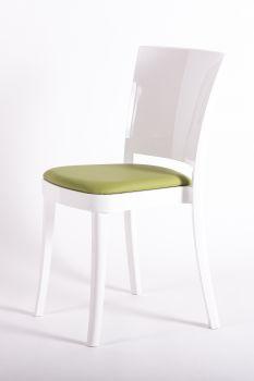 Krzesło Lucienne ze Biały poliwęglanu z poduszką - TKANINĄ FAUX SKÓRY NABUK