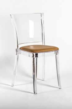 Transparent chair polycarbonate with pillow LUCIENNE - SIENNA