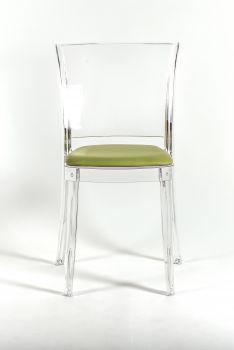 Krzesło Lucienne z przeźroczystego z poduszką - TKANINĄ FAUX SKÓRY NABUK