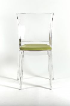 Transparent chair with pillow Lucienne - FAUX LEATHER NABUK