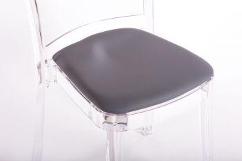 Poduszka faux skóry NABUK do krzesła Lucienne - WĘGIEL